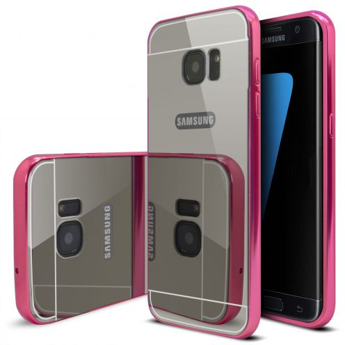 Samsung Galaxy S7 Edge Aluminium Bumper with back Mirror Pink
