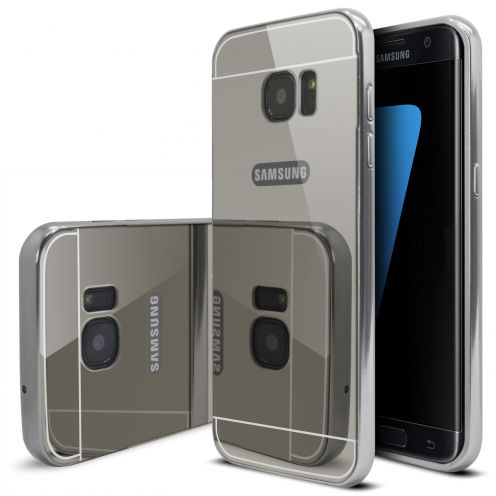 Samsung Galaxy S7 Edge Aluminium Bumper with back Mirror Silver