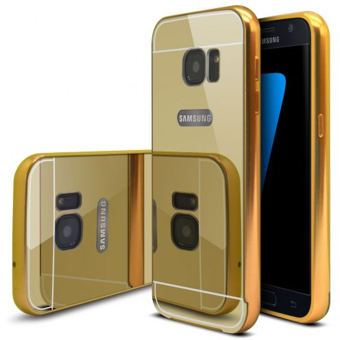 Samsung Galaxy S7 Aluminium Bumper with back Mirror Gold