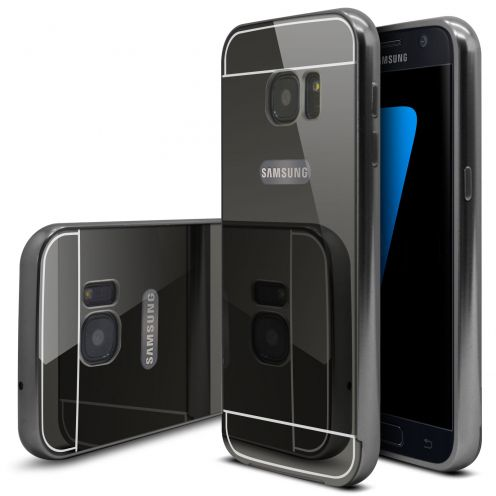 Samsung Galaxy S7 Aluminium Bumper with back Mirror Black