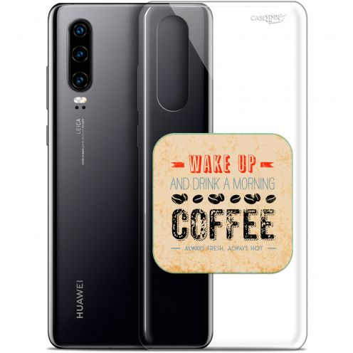 "Extra Slim Gel Huawei P30 (6.1"") Case Design Wake Up With Coffee"