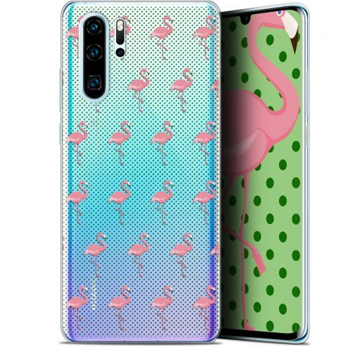 """Extra Slim Gel Huawei P30 Pro (6.47"""") Case Pattern Les flamants Roses Dots"""