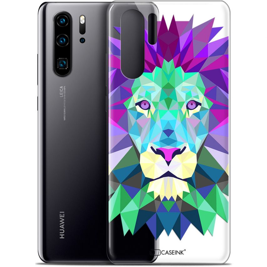 "Extra Slim Gel Huawei P30 Pro (6.47"") Case Polygon Animals Lion"