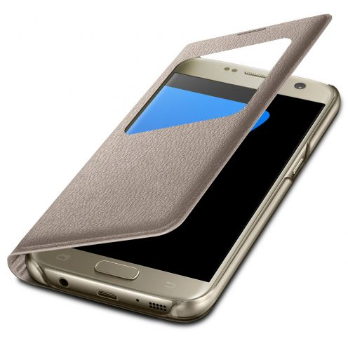 Samsung Galaxy S7 Flip Folio Case - WindowView - Gold