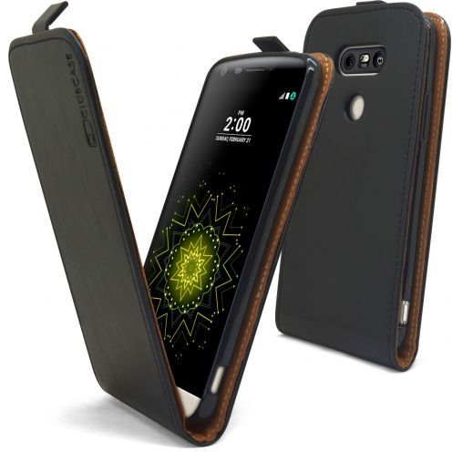 Clamshell Flip Flexi Case for LG G5 Genuine Italian Leather Black