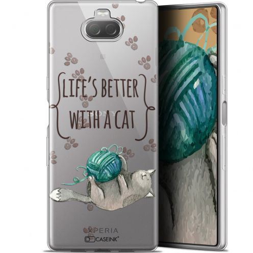 """Extra Slim Gel Sony Xperia 10 (6"""") Case Quote Life's Better With a Cat"""