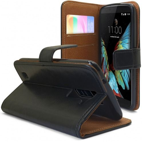 Folio Wallet Flexi Case for LG K10 Genuine Italian Leather Black