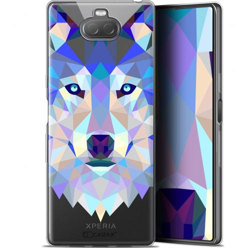 "Extra Slim Gel Sony Xperia 10 Plus (6.5"") Case Polygon Animals Wolf"