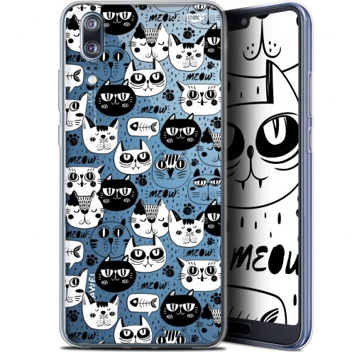 "Extra Slim Gel Huawei P20 (5.8"") Case Design Chat Noir Chat Blanc"