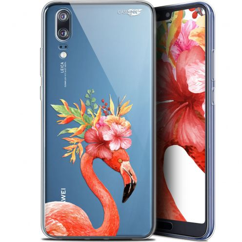 "Extra Slim Gel Huawei P20 (5.8"") Case Design Flamant Rose Fleuri"