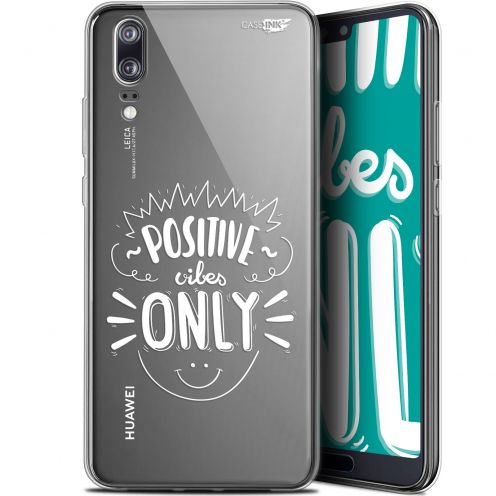 "Extra Slim Gel Huawei P20 (5.8"") Case Design Positive Vibes Only"