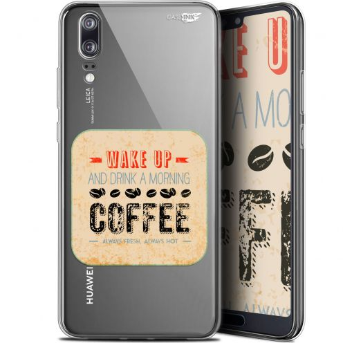"Extra Slim Gel Huawei P20 (5.8"") Case Design Wake Up With Coffee"