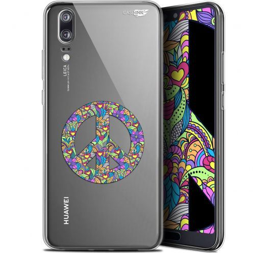 "Extra Slim Gel Huawei P20 (5.8"") Case Design Peace And Love"