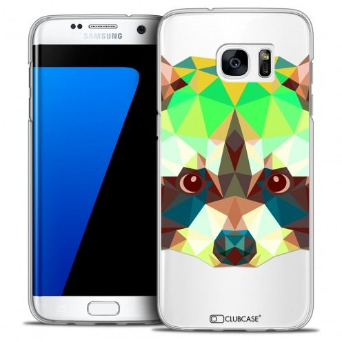 Extra Slim Crystal Galaxy S7 Edge Case Polygon Animals Racoon