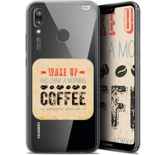 "Extra Slim Gel Huawei P20 Lite (5.84"") Case Design Wake Up With Coffee"