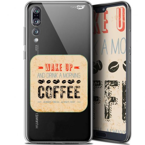 """Extra Slim Gel Huawei P20 Pro (6.1"""") Case Design Wake Up With Coffee"""