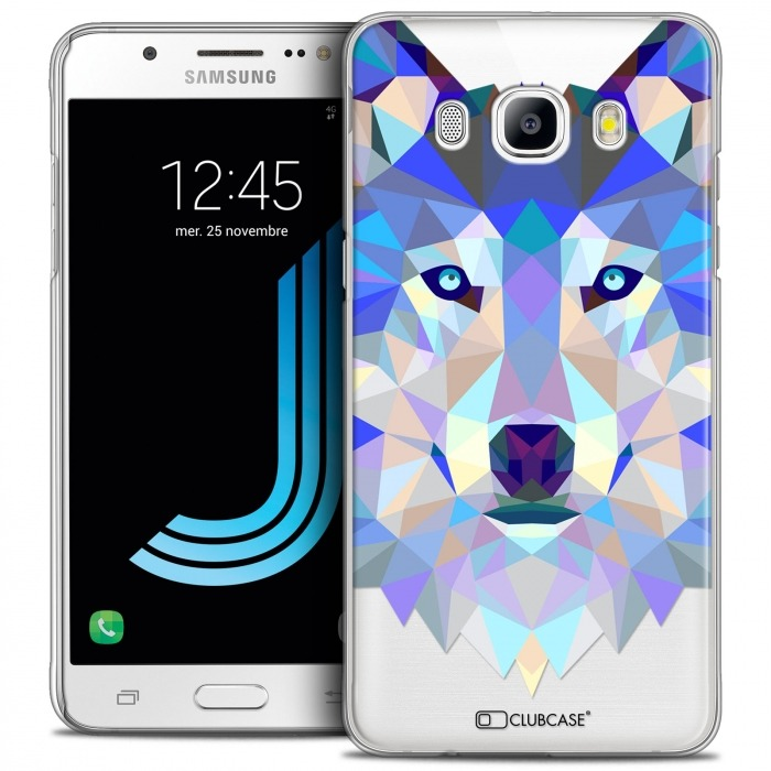 detailed look 7f606 1f53c Extra Slim Crystal Galaxy J5 2016 (J510) Case Polygon Animals Wolf