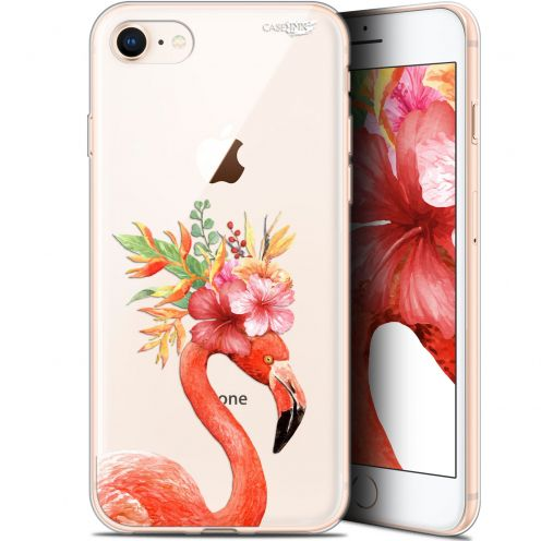 "Extra Slim Gel Apple iPhone 7/8 (4.7"") Case Design Flamant Rose Fleuri"