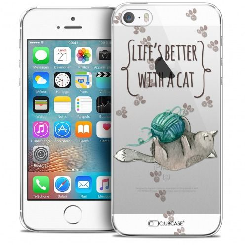Extra Slim Crystal iPhone 5/5s/SE Case Quote Life's Better With a Cat