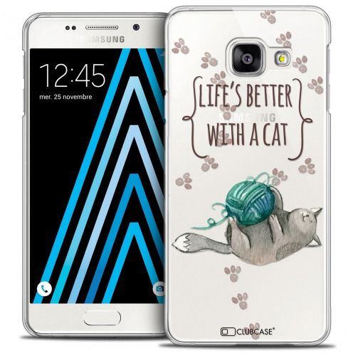 Extra Slim Crystal Galaxy A3 2016 (A310) Case Quote Life's Better With a Cat