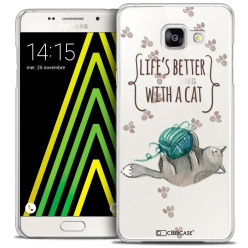 Extra Slim Crystal Galaxy A5 2016 (A510) Case Quote Life's Better With a Cat