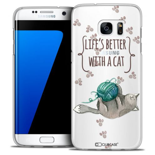 Extra Slim Crystal Galaxy S7 Edge Case Quote Life's Better With a Cat
