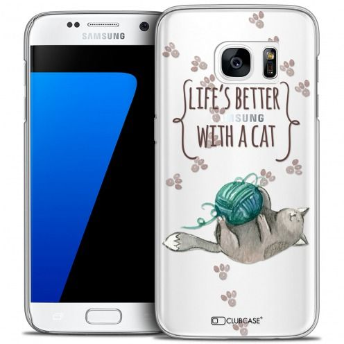 Extra Slim Crystal Galaxy S7 Case Quote Life's Better With a Cat