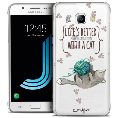 Extra Slim Crystal Galaxy J5 2016 (J510) Case Quote Life's Better With a Cat