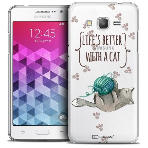 Extra Slim Crystal Galaxy Grand Prime Case Quote Life's Better With a Cat