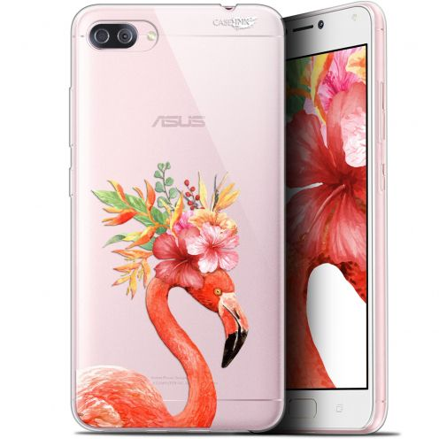 "Extra Slim Gel Asus Zenfone 4 MAX PLUS / Pro ZC554KL (5.5"") Case Design Flamant Rose Fleuri"