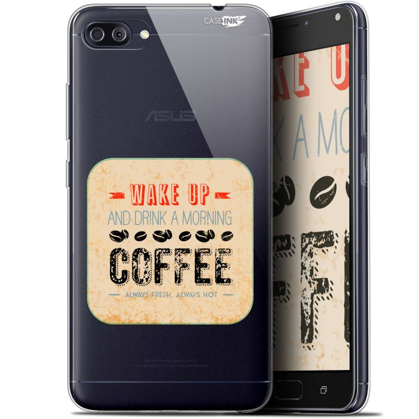 "Extra Slim Gel Asus Zenfone 4 MAX PLUS / Pro ZC554KL (5.5"") Case Design Wake Up With Coffee"