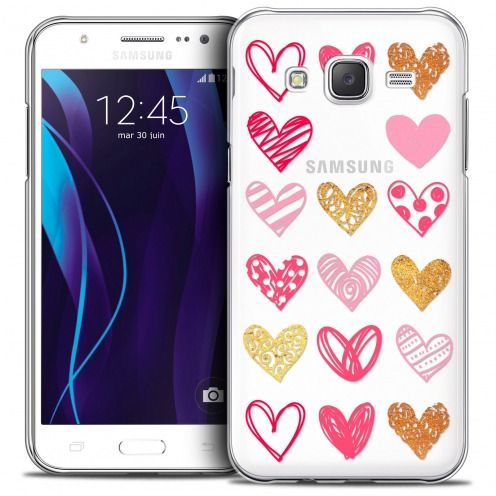 Extra Slim Crystal Galaxy J7 (J700) Case Sweetie Doodling Hearts