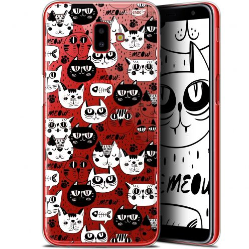 "Extra Slim Gel Samsung Galaxy J6 Plus J6+ (6.4"") Case Design Chat Noir Chat Blanc"