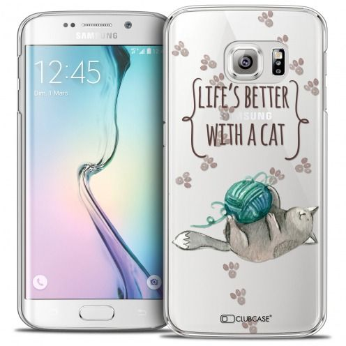 Extra Slim Crystal Galaxy S6 Edge Case Quote Life's Better With a Cat