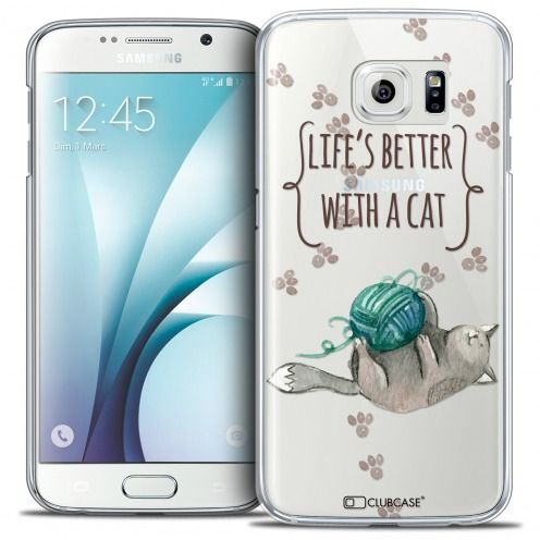 Extra Slim Crystal Galaxy S6 Case Quote Life's Better With a Cat