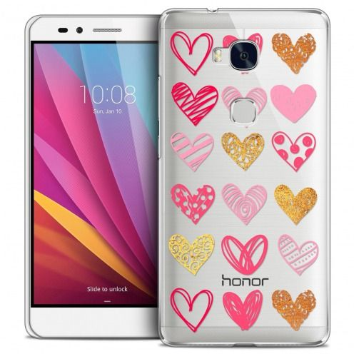 Extra Slim Crystal Honor 5X Case Sweetie Doodling Hearts