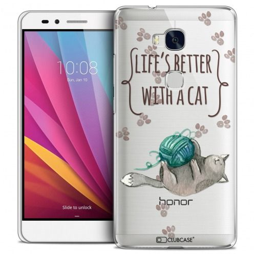 Extra Slim Crystal Honor 5X Case Quote Life's Better With a Cat