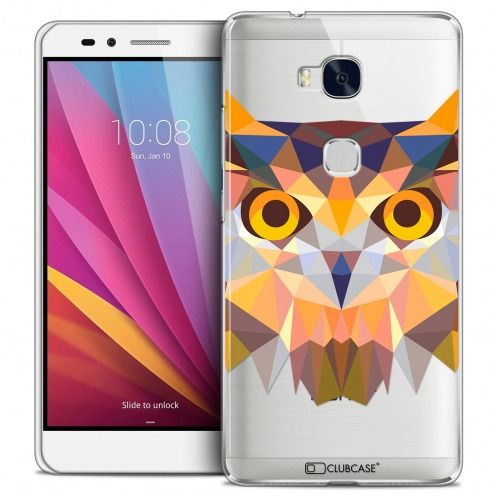 Extra Slim Crystal Honor 5X Case Polygon Animals Owl