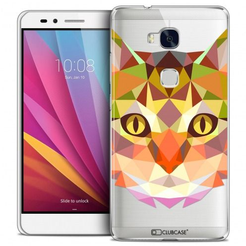 Extra Slim Crystal Honor 5X Case Polygon Animals Cat