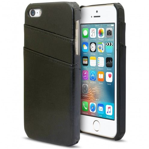 Leather Business Cover Black case for iPhone SE/5s/5 with Card slot