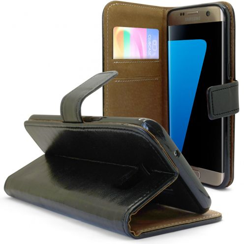 Folio Wallet Flexi Case for Samsung Galaxy S7 Edge Genuine Italian Leather Black