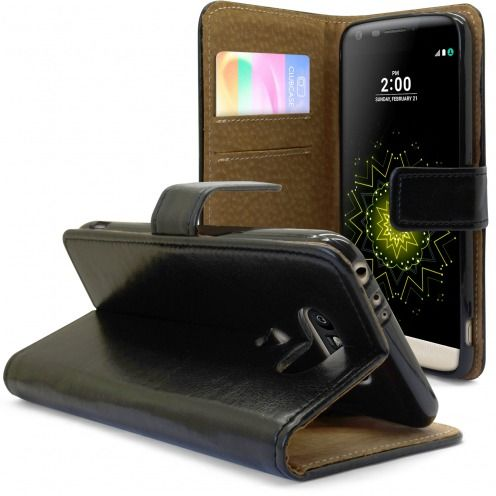 Folio Wallet Flexi Case for LG G5 Genuine Italian Leather Black
