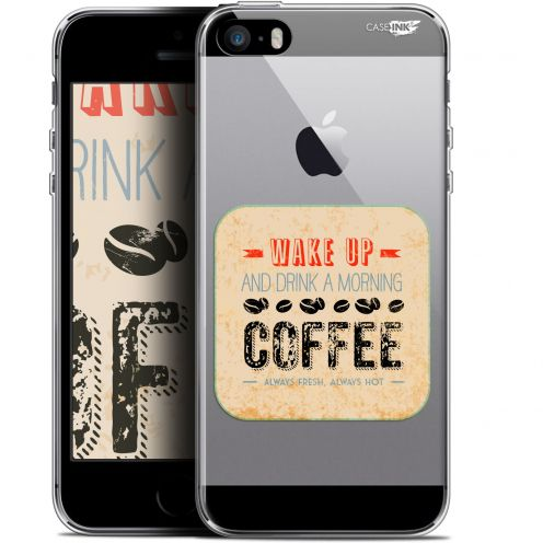 """Extra Slim Gel Apple iPhone 5/5s/SE (4"""") Case Design Wake Up With Coffee"""