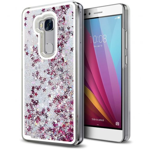 Crystal Liquid Glitter Diamonds case for Huawei Honor 5X Silver
