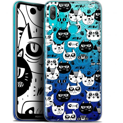 "Extra Slim Gel Huawei Y7 / Prime / Pro 2019 (6.26"") Case Design Chat Noir Chat Blanc"