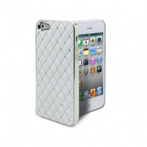 Luxury Satin & diamond case for iPhone 5 White