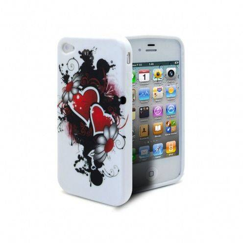 ABSTRACTION soft case Red Hearts Design for iPhone 4/4S