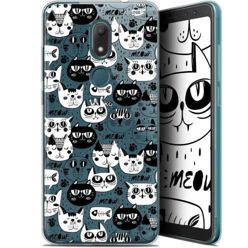 """Extra Slim Gel Wiko View PRIME (5.7"""") Case Design Chat Noir Chat Blanc"""