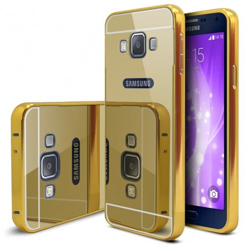 Samsung Galaxy A5 2015 (A500) Aluminium Bumper with back Mirror Gold