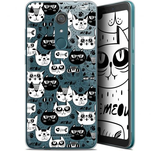 """Extra Slim Gel Wiko View (5.7"""") Case Design Chat Noir Chat Blanc"""